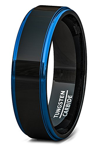 Duke Collections Mens Wedding Band Two Tone Polished Black Tungsten Ring 6mm Blue Sides Step Edge Comfort Fit (8)