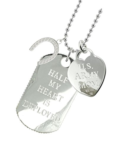 Solid Sterling Silver Army Mom Dog Tag HS by New York 925 & Co.