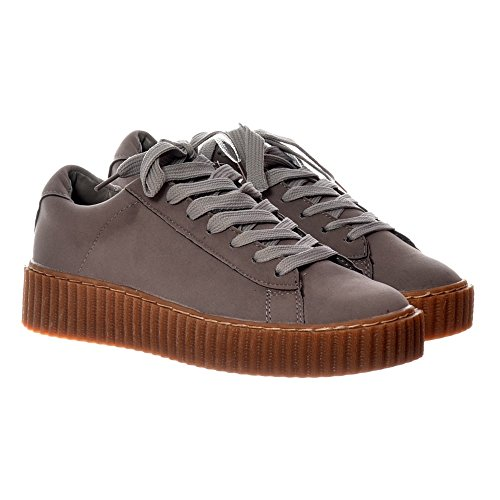 Onlineshoe Women's Lace Up Platform Flat Creeper Suede Shoes - Pink, Grey Grey