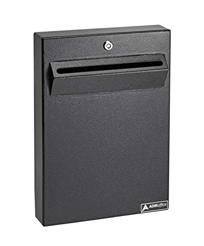 - AdirOffice Wall Mount Drop Box - Heavy Duty Secured Storage with Lock - for Commercial Home Office or Business Use (Black)