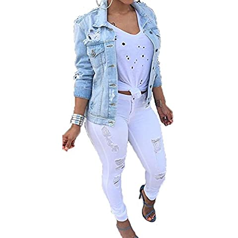 VICVIK Womens Fashion Long Sleeve classic Denim Jacket Coat With Pockets (L) - Denim Coat Jacket