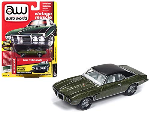 StarSun Depot New 1969 Pontiac Firebird Verdoro Green Poly with Flat Black Roof Vintage Muscle Limited Edition to 3,456 Pieces Worldwide 1/64 Diecast Model Car by Autoworld