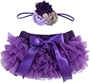 2pcs Newborn Baby Girls Chiffon Bloomer & Headband Set Newborn Photo Prop Baby Girl Cake Smash Outfit Purp