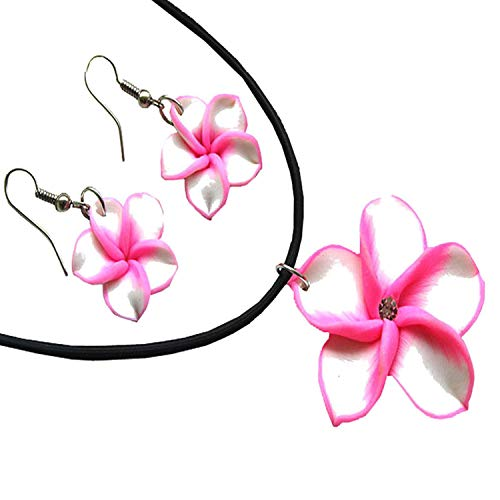 (Donau Women Plumeria Fimo Flower Jewelry Set Pendant Necklace)