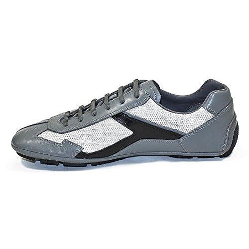 06faf903be44e Prada Men's Leather and Mesh Fashion Sneakers, Grey-black 4E2791 ...