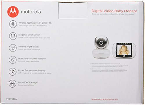 motorola 3 5 video baby monitor. amazon.com : motorola mbp33xl 2.4 ghz fhss digital video baby monitor with 3.5-inch color screen, zoom, two-way audio, and room temperature display 3 5
