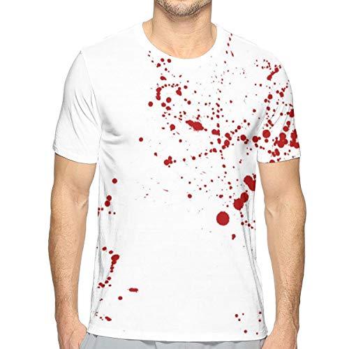 - Men T-Shirt Blood Splatter Art Design Crewneck Tee Soft Tees Blouse Casual Tank Tops T-Shirts White