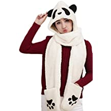 Women Girls Cute Panda Animal Winter Hats 3 in 1 Warm Soft Plush Hoodie Cap Paw Gloves Mitten Scarf Set Cold Weather Earmuff Headbands Holiday Costume Christmas Gift for Adults Kids