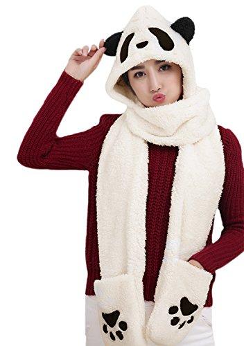 Women Girls Cute Panda Animal Winter Hats 3 in 1 Warm Soft Plush Hoodie Cap Gloves Mitten Scarf Set Cold Weather Earmuff Headbands Costume Holiday Christmas Gift for Adults Kids (Black Eyes Panda)