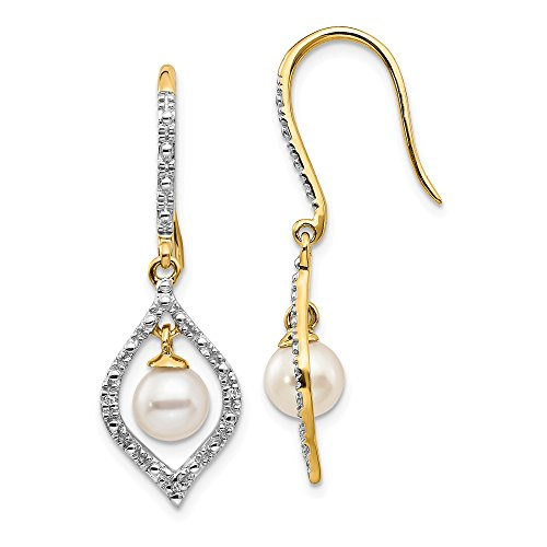 14k Yellow Gold 7mm White Round Freshwater Cultured Pearl .02ct. Diamond Drop Dangle Chandelier Earrings Fine Jewelry Gifts For Women For ()