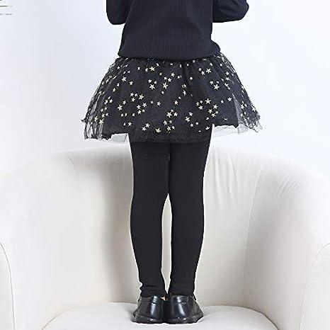 Yao Little Girls Footless Leggings with Tutu Ruffle Twinkle Star Skirt Stretchy Cotton Pantskirt