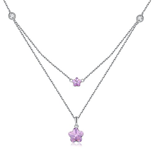 Cat Collars Swarovski (GAEA H Double Chains Flower Pendant Necklace, Purple Fashion Simple Crystals Made With Swarovski Necklaces Jewelry for Valentine's Day Christmas Birthday)