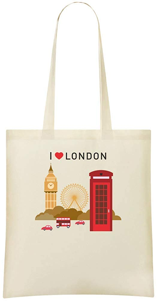 J'aime le coeur de Londres - I Love London Heart Custom Printed Grocery Tote Bag - 100% Soft Cotton - Eco-Friendly & Stylish Handbag For Everyday Use - Custom Shoulder Bags