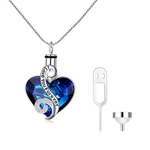 (AOBOCO S925 Sterling Silver Heart URN Necklace Engraved I Love You Forever Pendant,Cremation Keepsake Necklace for Ashes with Blue Swarovski Crystal,Fine Memorial Jewelry)