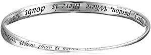 """Sterling Silver """"Lord, Make Me An Instrument Of Your Peace"""" Bangle Bracelet"""
