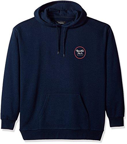 Brixton Men's Wheeler Relaxed Standard Fit Hood Fleece Sweatshirt, Navy/Red, (Fleece Screen Print Sweatshirt)