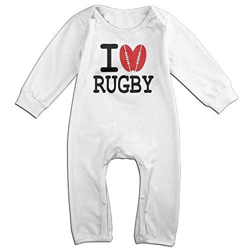 Rugby Shirts Ebay (Zhu Bajie Funny I Love,Rugby,Heart I Love Rugby Long-Sleeve Jumpsuit Playsuit Outfits For Infant Baby White 12 Months)