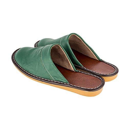 Haisum Tb008-w - Zapatillas de estar por casa de Piel Sintética para mujer Verde