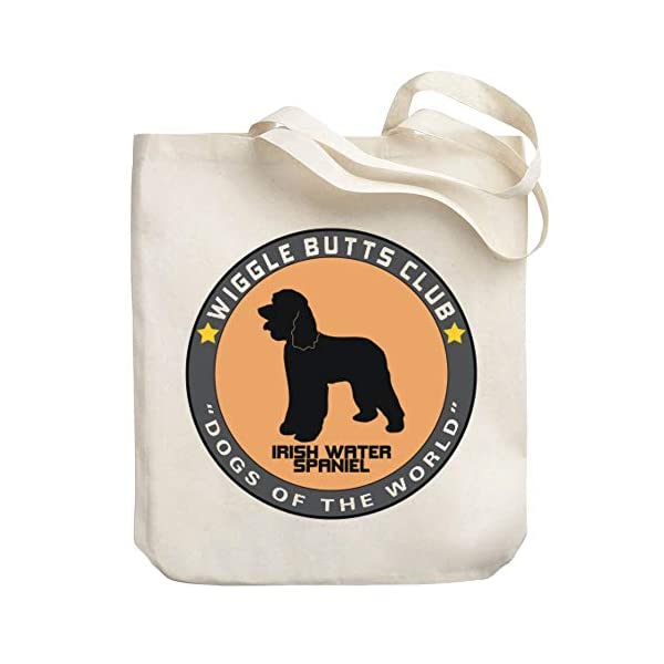 """Teeburon Irish Water Spaniel Wiggle Butts Club Pin Canvas Tote Bag 10.5"""" x 16"""" x 4"""" 1"""