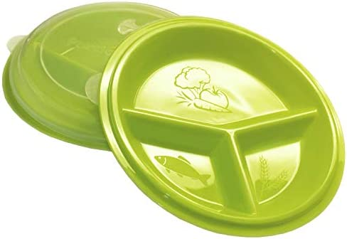 Rehabilitation Advantage 3 Compartment Portion Plate with Lid (Set of 2) 1
