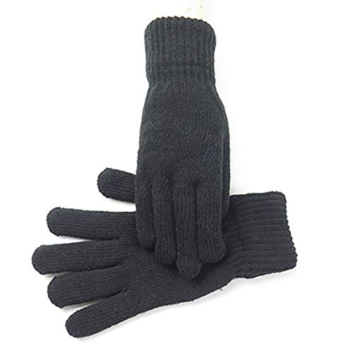 Thick Anti-Slip Touch Screen Double Warm Gloves Wool Knitting Thickening Cold-Weather Riding Five Fingers Man Warm Gloves Winter Warm Gloves Touch Screen Phone Windproof Lined Thick Gloves