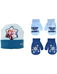 Girls Hat and Glove Set, Frozen Reversible Hat and 2 Pair Mitten or Glove, 2-7