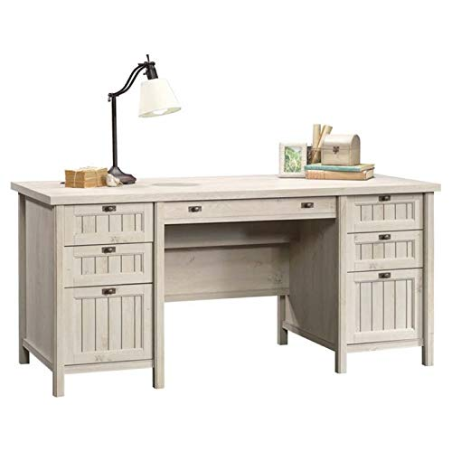 Pemberly Row Home Office Executive Desk with 2 Letter/Legal File Drawers in Chalked Chestnut
