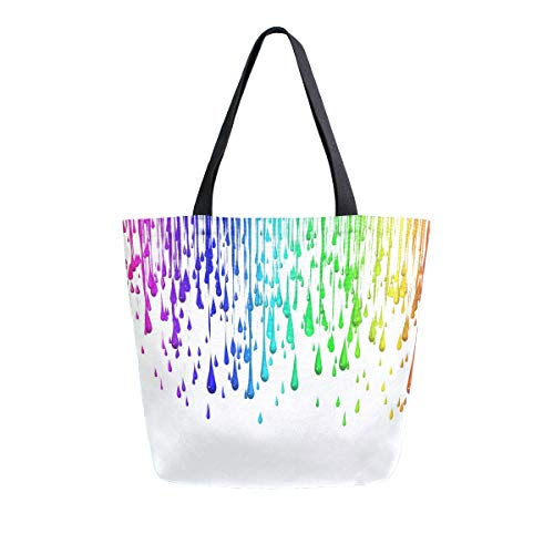 Womens Canvas Tote Bag Beauty Colorful Large Shopping Bag Shoulder Handbag ()