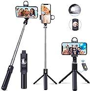 EMAGIE Palo Selfie Stick Trípode Celular Bluetooth con Luz Disparador Inalambrico Móvil Stick Extensible Bastó