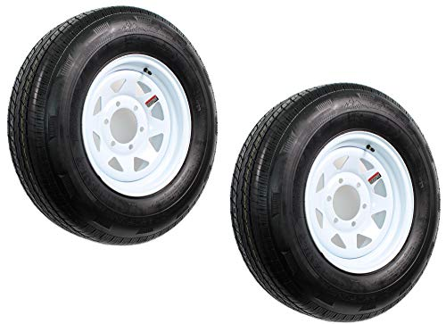 2-Pack Trailer Tire On Rim ST225/75R15 LRD 6 Hole Steel White ()
