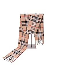 "Plaid Scarf for Men Soft Winter Autumn Scarf with Fringe 12""x72"" (1)"