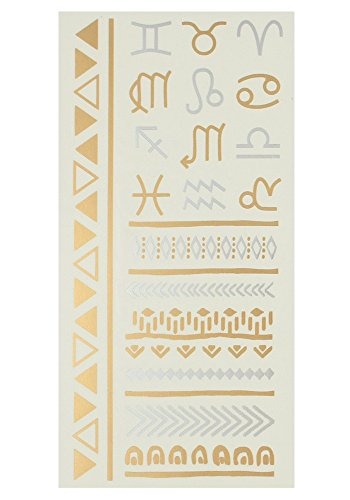Capelli New York Single Sheet Zodiac Temporary Tattoo Gold Combo ONE SIZE