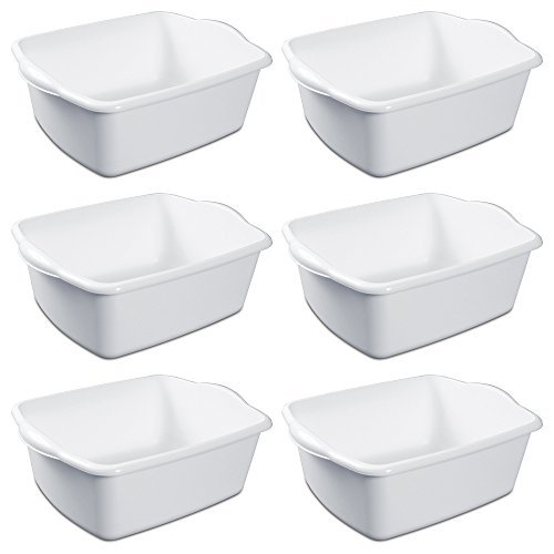 (Sterilite White Plastic Rectangular Dish Pan 12 Quart Pack of)