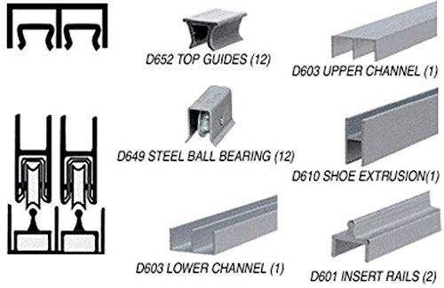 C.R. LAURENCE D2301ABB CRL Satin Anodized Deluxe Track Assembly D603 Upper and D601 Rail with Steel Ball Bearing Wheels