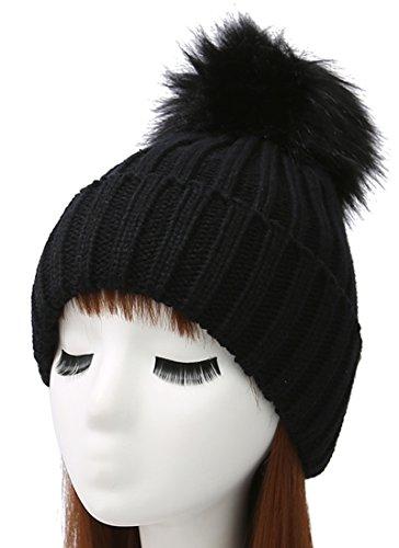 Woogwin Womens Winter Knit Beanie Hat Warm Fleece Lined Slouchy Skull Ski Cap (Black) (Warm Winter Women Hat)