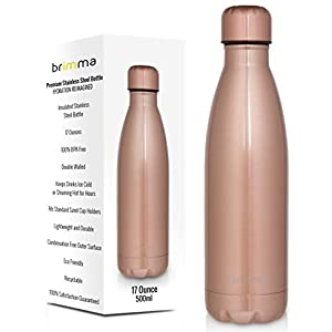 Brimma Vacuum Insulated Water Bottle - Double Walled Stainless Steel Travel Bottle For Hot & Cold Drinks - 100% Sweat & Leak Proof Portable Thermos Flask - 17 Oz (500 ml) (Rose Gold)