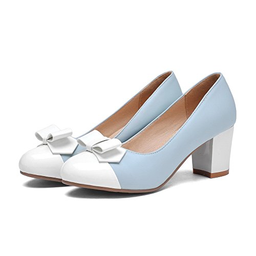 Blue Kitten Heels Toe Color Pull WeenFashion On Pumps Assorted Women's Shoes Round AqHwx5P
