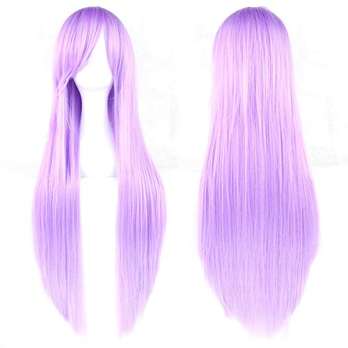 - 80cm Long Synthetic Hair Wig for Women Heat Resistant Fiber Hairpiece Pink Gray Straight Cosplay Wigs