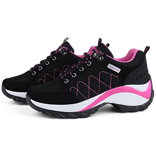 Image of JINGJING Women's Lightweight Athletic Running Shoes Black Mesh Breathable Sports Fitness Jogging Sneakers