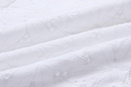 Mujer Encaje Blusas de manga larga Camisas sin tirantes Blanco