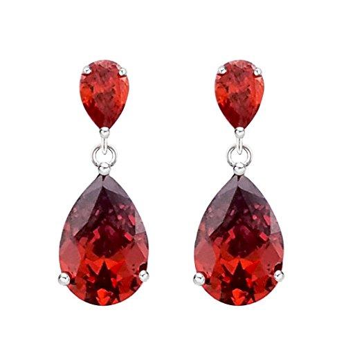 SELOVO Teardrop Pear Shape Red Cubic Zirconia Girls Fashion Red Drop Pierced Earrings Silver Tone