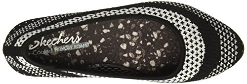Skechers Womens Cleo Hot Dot Ballet Flat Black/White