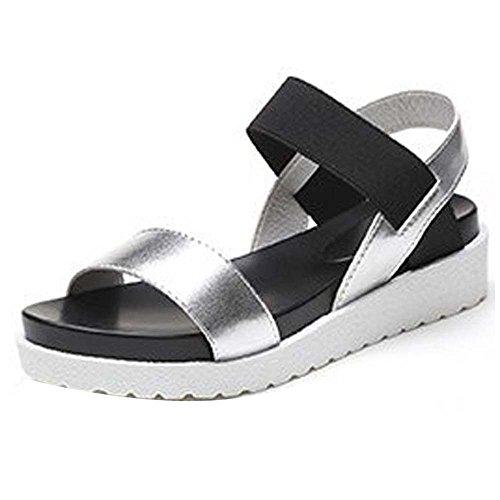 Flip Sandals Peep Roman Low Flops Ladies Toe Summer Silver Womens Shoes Shoes Flat Sandal 0gfqxzwF
