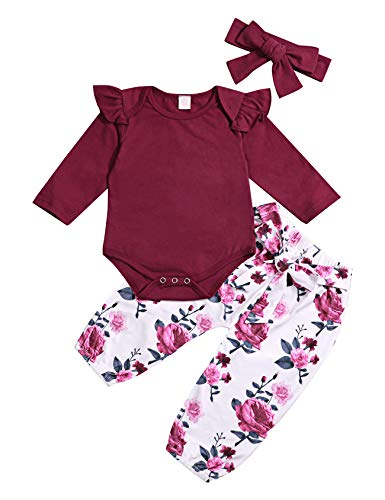 (3Pcs Newborn Toddler Baby Girl Romper Jumpsuit Ruffle Long Sleeve Bodysuit Floral Pants Outfits with Headband Sets)