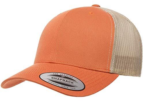 Yupoong Retro Trucker Snapback Cap   Mesh Back, Adjustable Ballcap w/Hat Liner (Rust Orange/Khaki)