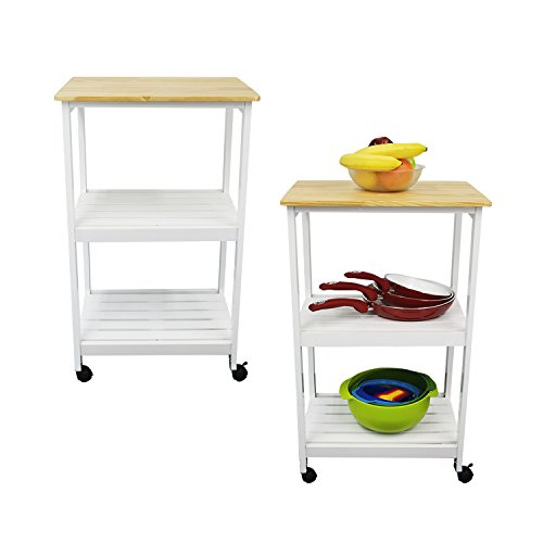 Houseables Microwave Cart, Kitchen Stands And Carts, White & Natural, 21