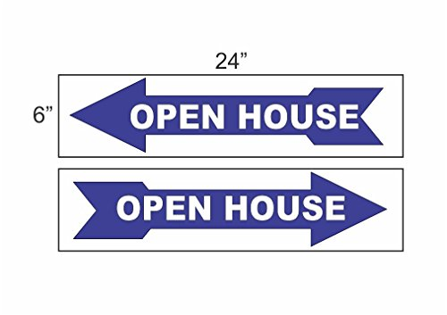 Wholesale 2 - 6x24 open house ARROW Sign BLUE Real Estate for cheap