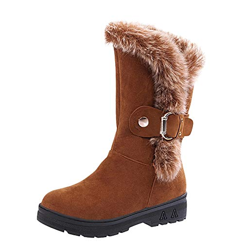 Fur Booties for Women, Sunyastor Women Boots Slip-On Soft Snow Boots Flat Winter Fur Lined Ankle Boots Shoes (Best Place To Get Ugg Boots)