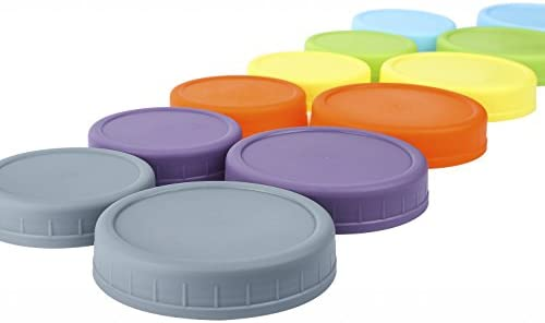 (Plastic) - Aozita 12 Piece Coloured Plastic Mason Jar Lids for Ball and More - 6 Regular Mouth & 6 Wide Mouth - Plastic Storage Caps for Mason Jars