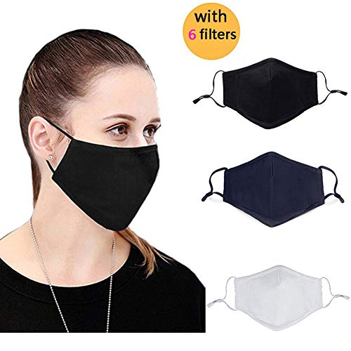 Adult N95 Respirator Mask Black Gray Face Mask - Flu Mask, Dust Mask, Allergy Mask - Comfortable, Reusable - Protection from Dust, Pollen, Allergens, Flu Germs-3Pcs